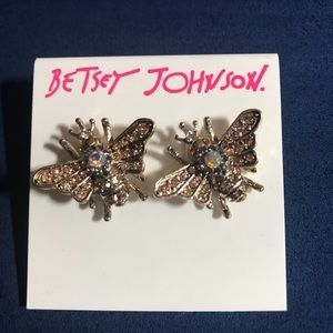Betsey Johnson Queen Bee Gold Tone Earrings